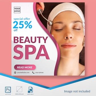 Beauty spa descuento oferta plantilla de publicación en redes sociales.