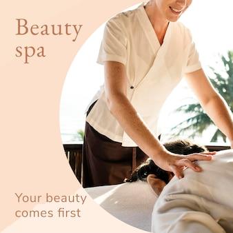 Beauty spa wellness plantilla psd con tu belleza es el primer texto