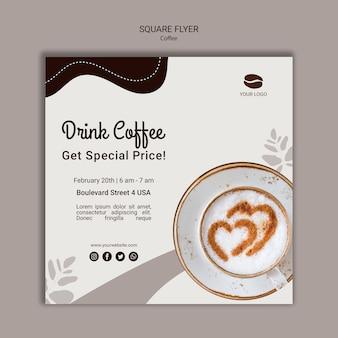 Beber café plantilla de volante cuadrado