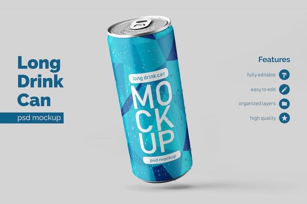 La bebida de aluminio larga flotante realista editable puede burlarse de las plantillas de diseño