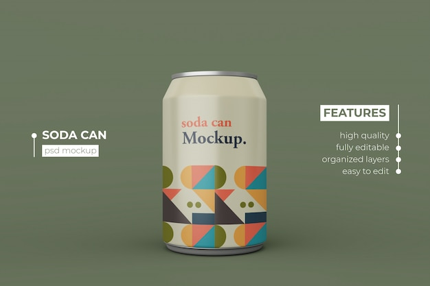 La bebida de aluminio de soda moderna cambiante puede maquetarse