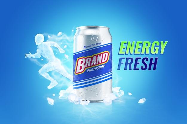 Bebida fresca y energética puede maquetas y publicidad de hielo en el cuerpo