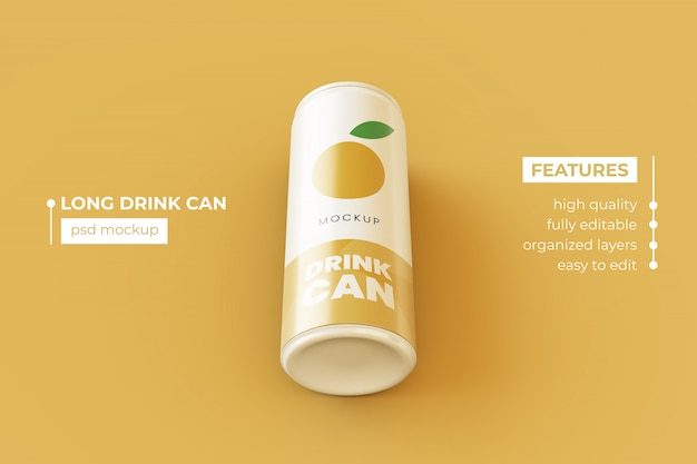 Bebida metálica delgada editable puede plantilla de diseño de maqueta psd premium