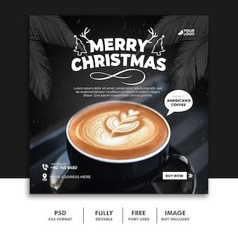 Bebida de plantilla de banner de publicación de redes sociales de café navideño