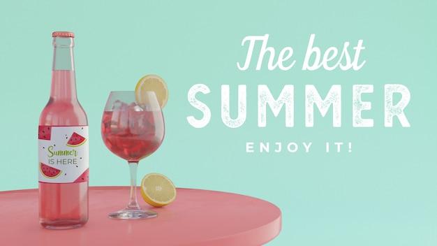 Bebida de verano en mesa con tipografía.