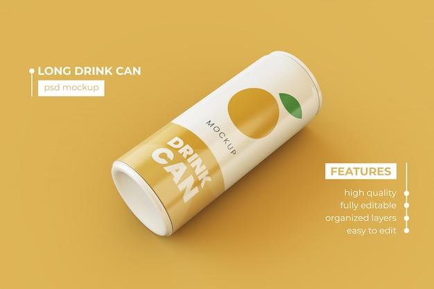 Bebidas metálicas finas realistas pueden plantillas de maquetas psd premium