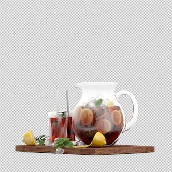 Bebidas en render 3d aislado