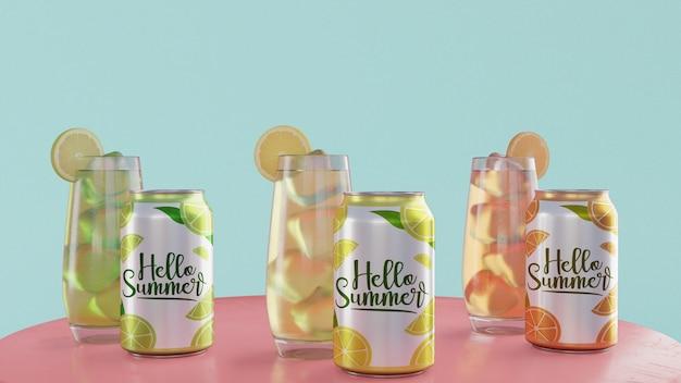 Bebidas de verano en mesa con fondo azul