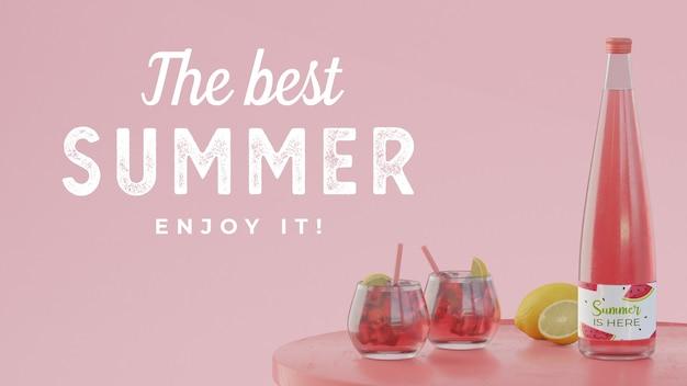 Bebidas de verano en mesa con tipografía.
