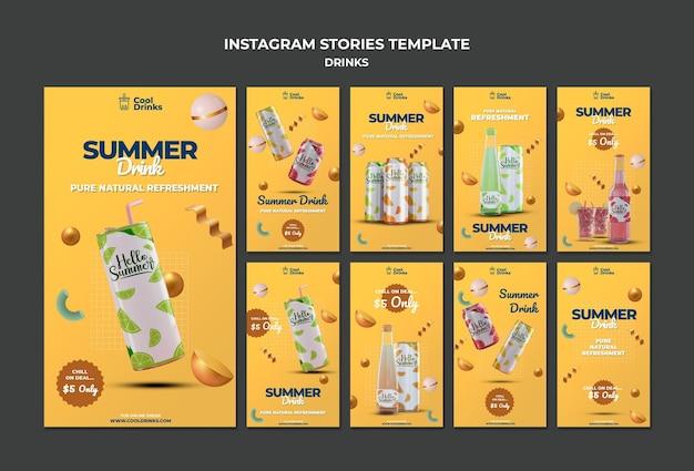 Bebidas de verano refresco puro publicación de instagram PSD gratuito