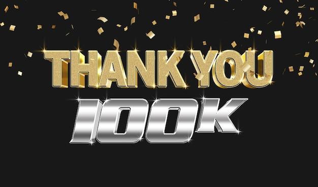 Bedankt 100k 3d-tekststijleffectsjabloon