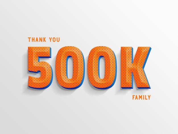 Bedankt 500k volgers tekststijl sjabloon