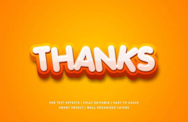 Bedankt cartoon 3d-tekststijleffect