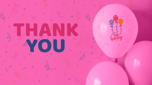 Bedankt en blije tekst op ballonnen