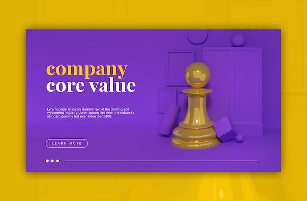 Bedrijf kernwaarde 3d illustratie schaakpion