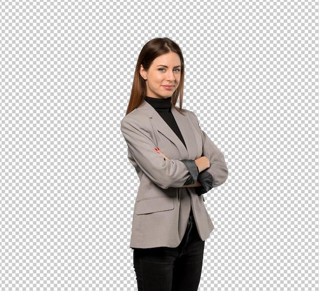 Bedrijfs vrouw met gekruiste en wapens die vooruit eruit zien