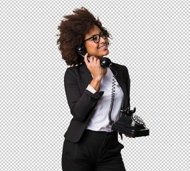 Bedrijfs zwarte die op telefoon spreekt