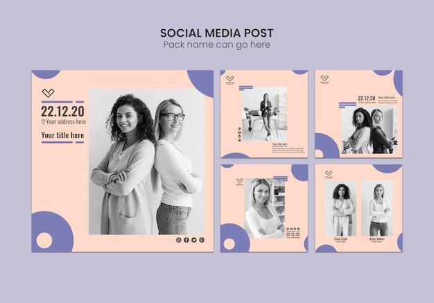 Bedrijfsconcept voor sociale media posten templae