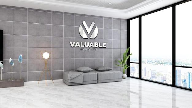 Bedrijfslogo mockup in de wachtkamer van de luxe lobby