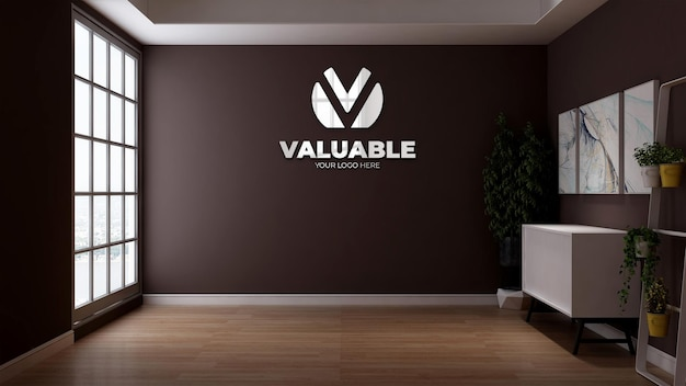 Bedrijfslogo mockup met de bruine muur voor branding logo