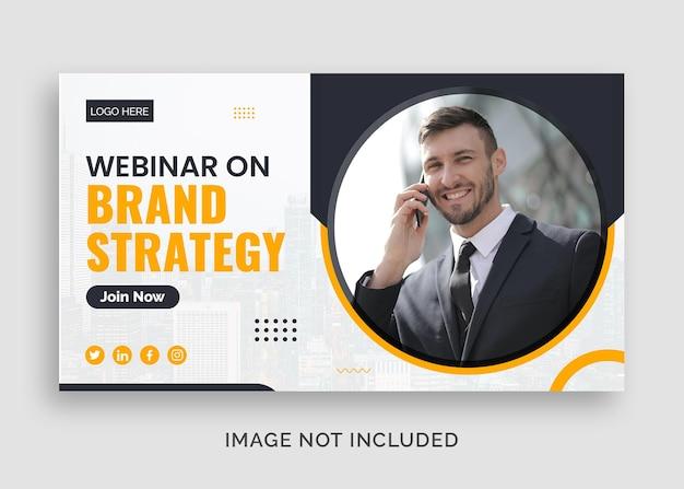 Bedrijfsmerkstrategie zakelijke webinar youtube-thumbnail of webbannersjabloon