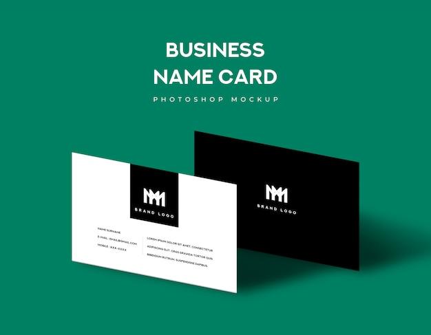 Bedrijfsnaamkaart voor- en achterkant met schaduwlicht op groene achtergrond