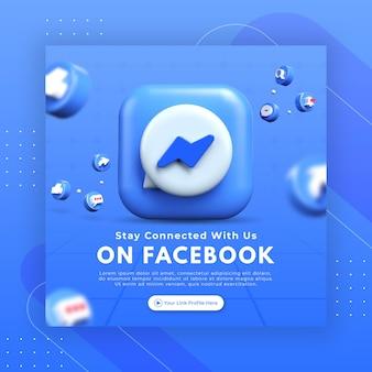 Bedrijfspaginapromotie met 3d render facebook messenger voor instagram postsjabloon