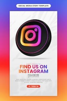 Bedrijfspaginapromotie met 3d render instagram-pictogram voor instagram en social media-verhaalsjabloon