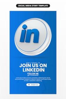 Bedrijfspaginapromotie met 3d render linkedin-pictogram voor sociale media en instagram-verhaalsjabloon