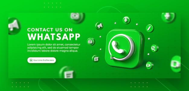 Bedrijfspaginapromotie met 3d render whatsapp voor facebook-omslagsjabloon