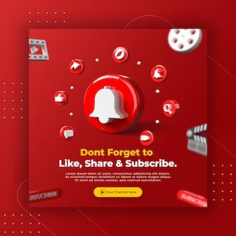 Bedrijfspaginapromotie met 3d render youtube-logo voor instagram-postsjabloon