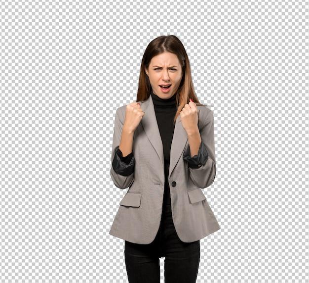 Bedrijfsvrouw die door een slechte situatie wordt gefrustreerd