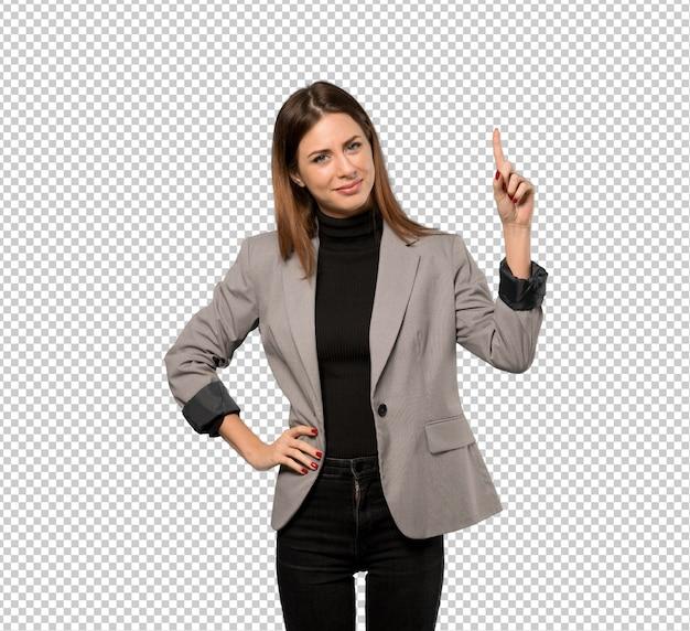 Bedrijfsvrouw die en een vinger in teken van het beste tonen opheffen