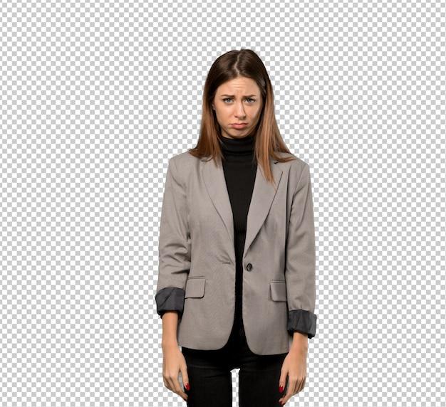 Bedrijfsvrouw met droevige en gedeprimeerde uitdrukking