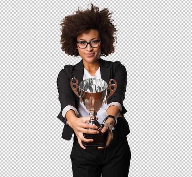 Bedrijfszwarte die een trofee houden