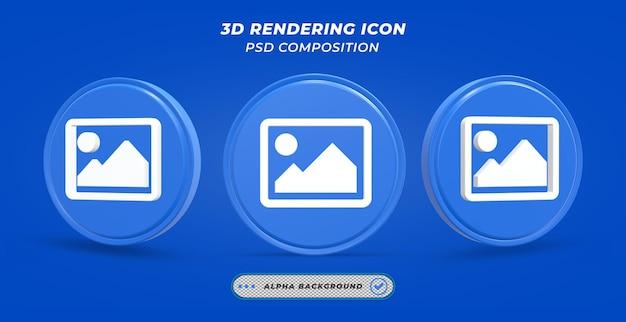Beeldweergavepictogram in 3d-rendering