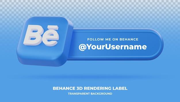 Behance 3d-rendering banner geïsoleerd