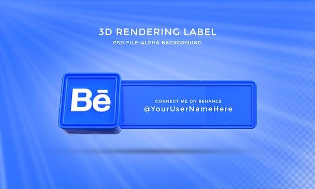 Behance gebruikersnaam 3d-rendering banner voor lager derderde