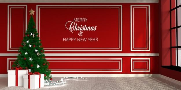 Behangmodel en versierde kerstboom met geschenken en lichte slinger
