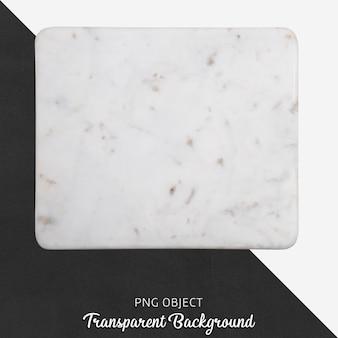 Beige gevormde marmeren dienende plaat op transparante achtergrond