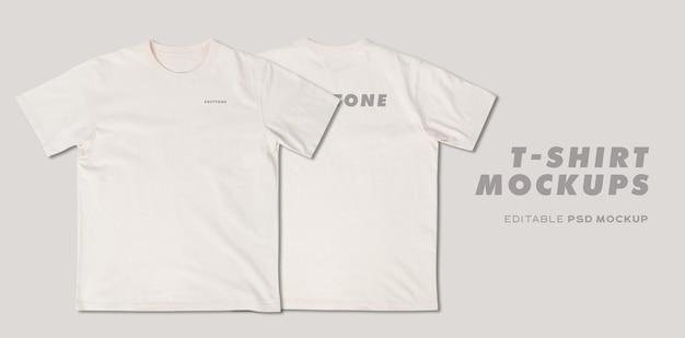Beige t-shirt mockup psd, sjabloon voor uw ontwerp.