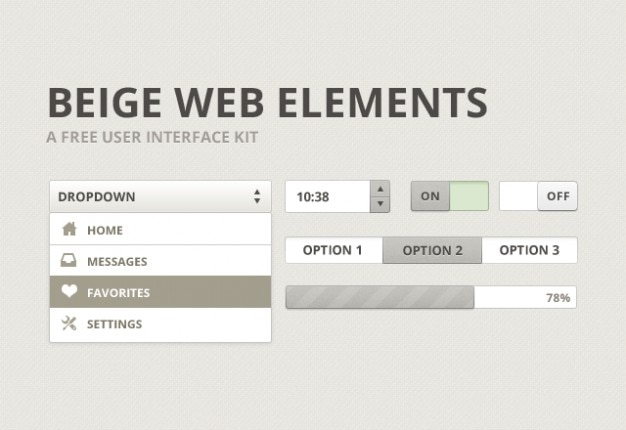 Beige user interface kit psd materiaal