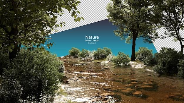 Beken en planten langs de rivier stroomomgeving uitknippad
