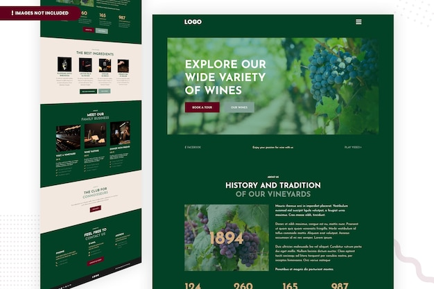 Bekijk onze grote verscheidenheid aan wijnwebsitepaginasjabloon