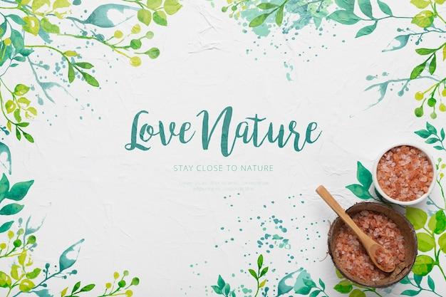 Belettering natuur citaat omringd door planten aquarel