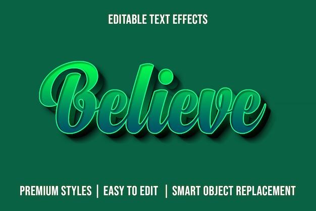 Believe - maqueta de efectos de texto premium 3d verde