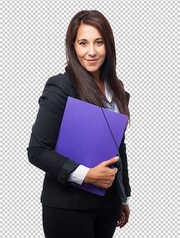 Bella donna d'affari con cartella