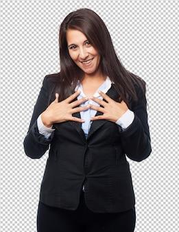 Bella donna d'affari orgogliosa