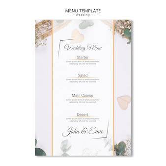 Bellissimo menu di nozze con ornamenti