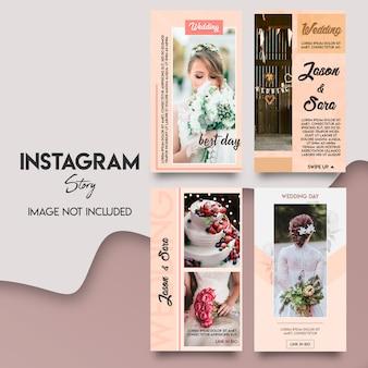 Bellissimo set di storia di instagram di nozze